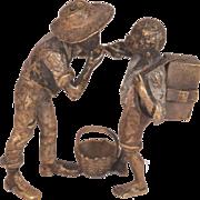 Rare Antique Bergman Vienna Bronze 2 Black Boys Smoking Geschutzt 4219