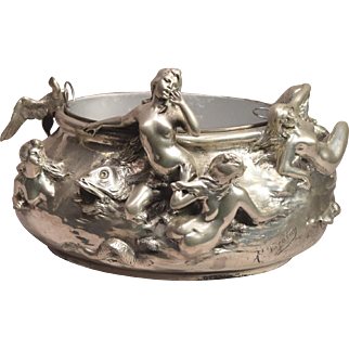 Antique  Art Nouveau Signed A. Foretay Silvered Jardiniere 5 Nude Ladies & A Mermaid
