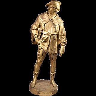 Emile Louis.Picault 1833-1915 Gilt Bronze Scholar Sculpture