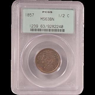1857 PCGS Graded Half Cent MS 63 BN