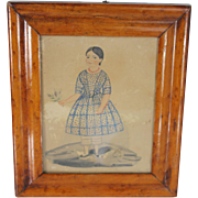Naive watercolour of a young girl