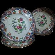 Four Spode/Copeland Polychrome Floral Pattern Soup Bowls
