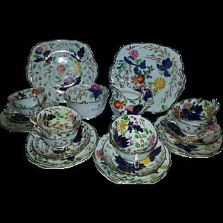 Part Mid 19th Century Staffordshire Porcelain Tea Service