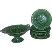 A 19th Century Green Glazed Majolica Dessert Service - Red Tag Sale Item