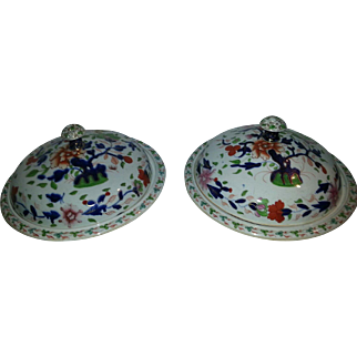 A Pair of 19th Century Muffin Dishes and Covers by Stevenson Sharp & Co Derby