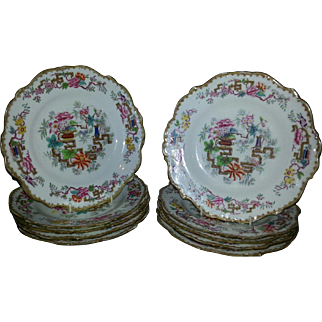 "Set of Ten Minton 9"" Plates in the Chinese Tree Pattern"