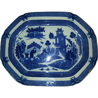 A Deep Blue Staffordshire Transfer Printed Pearlware Boy and Buffalo Patterned Platter