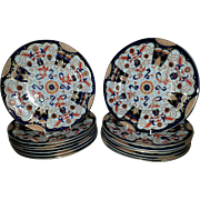 A 19th century Set of 12 Ashworth's Brightly Decorated Ironstone  Dinner Plates - Red Tag Sale Item