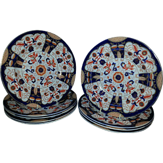 A 19th Century Set of 9 Ashworth's Brightly Decorated Ironstone  Soup Plates