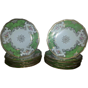 "Set of Twelve Coalport Green Batwing Plates, 9"" diameter"