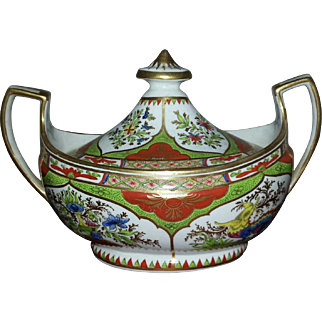 A Chamberlains of Worcester Sugar Pot and Cover - Dragons in Compartments