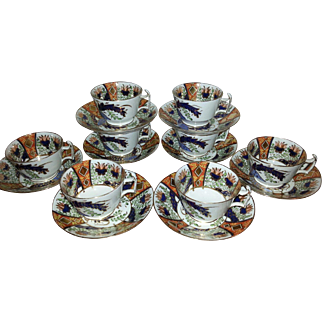 A Set of Eight Copeland Tea Cups and Saucers pattern 2213