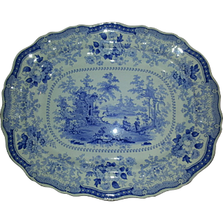 Staffordshire Blue Transfer Printed 19″ Platter, Fairy Villas