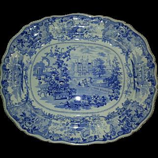 Staffordshire Blue Transfer Printed 19″ Platter, Vintage