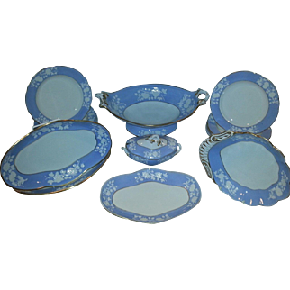 A Spode Lavender Blue Ground Relief Molded Part Dessert service.