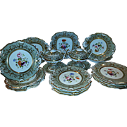 A 19th Century Staffordshire Floral Decorated Part Dessert Service