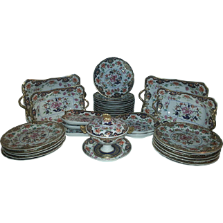 A Spode Chinese Famille Rose Decorated Part Dessert Service