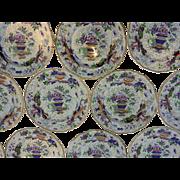 "A Set of seventeen Staffordshire Porcelain 9"" Dessert Plates, circa 1850"