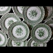 Copeland Garrett Late Spode Green Transfer Printed Set of 12 Plates