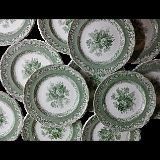 Copeland Garrett Late Spode Green Transfer printed 12 plates Camellia Pattern