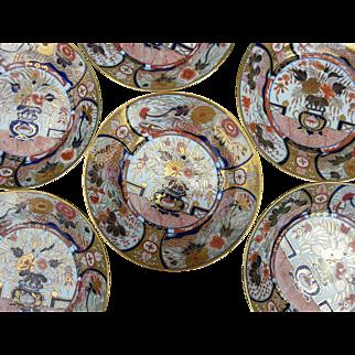 Six Early Coalport Imari Patterned Dessert Plates
