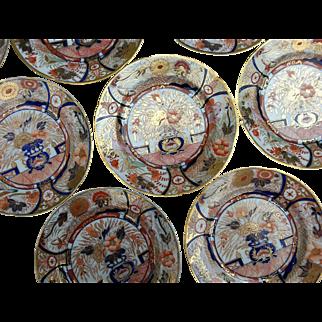 Eight Early Coalport Imari Patterned Dessert Plates
