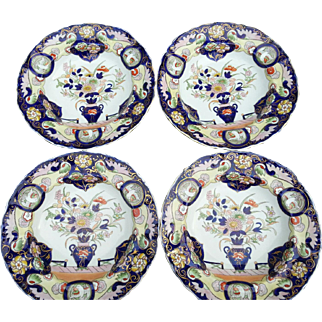 Set of Four Mason's Patent Ironstone China Soup Bowls