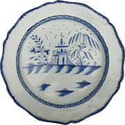 A Large Leeds Type Pearlware Charger with a Chinoiserie Design