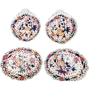 Four Mid-19th Century English Porcelain Dishes Decorated in an Imari Pattern