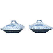 A Pair of Spode Blue Transfer Printed Square Vegetable Dishes and Covers in the Castle Pattern