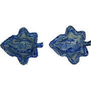 Pair Spode Castle Pattern Transfer Printed Leaf shaped Pickle Dishes