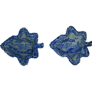 A pair of Spode transfer printed porcelain leaf form pickle dishes