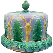 A Majolica Lilac-Ground Cheese Dome and Cover by Thomas Forester,  Staffordshire