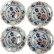 Four Hick & Meigh Stone China Dinner Plates, Pattern no.53