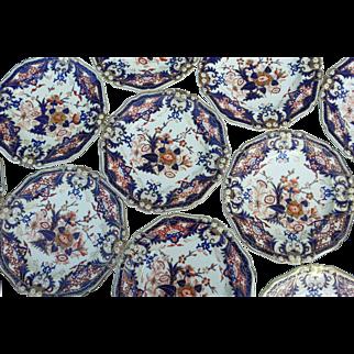 """A Set of 12  Bloor Derby Porcelain """"King's"""" Pattern Dinner Plates"""
