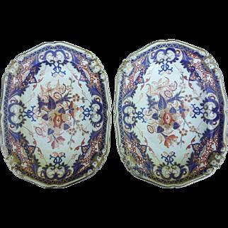 "A Pair of Bloor Derby Porcelain ""King's"" Pattern 11"" Platters"