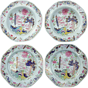 Pair of Spode Stone China Plates and Bowls Decorated in a Chinoiserie Pattern