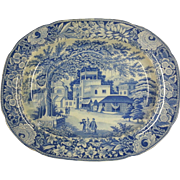 """An Indian Scene Blue Transfer Printed Platter """"Eastern Street Scene"""""""