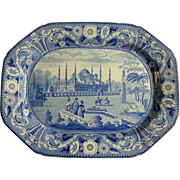 """Blue and White Transfer Printed Platter """"Mosque of Sultan Achmet"""""""
