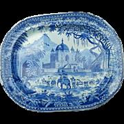 "An Indian Scene Blue Transfer Printed Platter ""Mausoleum of Sultan Perveiz """