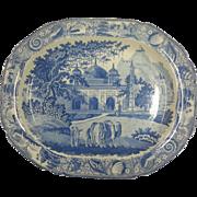 "An Indian Scene Blue Transfer Printed Platter ""Mausoleum of Nawaub Assoph Khan at Rajemahel'"