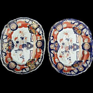 Pair Mason's Ironstone Platters, 19th Century