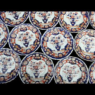 Twelve Mason's Ironstone Dessert Plates, 19th Century