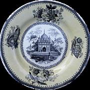 "A Black Transfer Printed Indian Scene Plate ""Tomb of Jeswuntnagurh"""