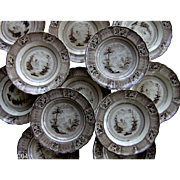 Twelve Staffordshire Brown Transfer Printed Soup Plates in the Cologne Pattern