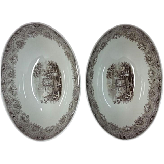 Brown Transfer Printed Park Scenery Pattern Pair of Large Bowls