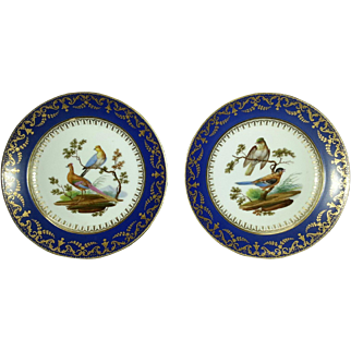 A Pair of Sevres Blue Noveau Plates with Hand Painted Ornithological Subjects