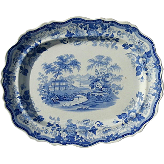 "A Large Blue Transfer Printed Platter ""Royal Cottage"" Pattern"