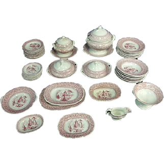 Child's Dinner Service, Pink Transfer Printed,  19th Century
