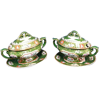 Ashworth's Higginbotham Pattern Real Ironstone China Sauce Tureens and trays